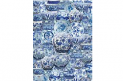 """Blue and white ceramics wrapping paper